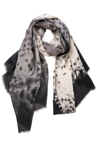 Abstract Mist Print Scarf in Black