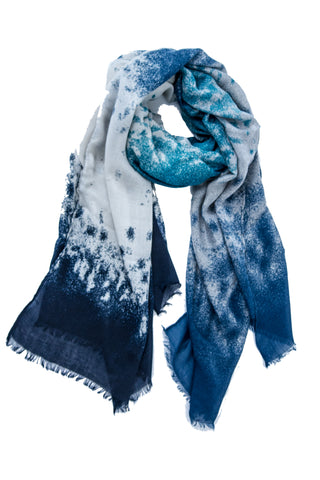 Abstract Mist Print Scarf in Sapphire