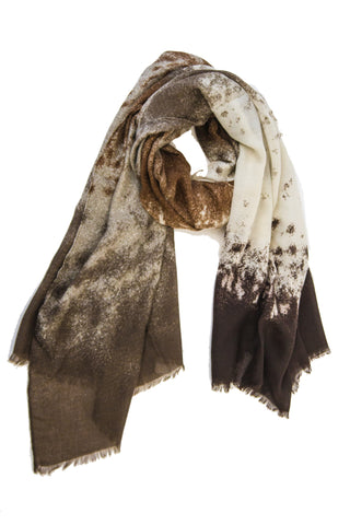 Abstract Mist Print Scarf in Caramel