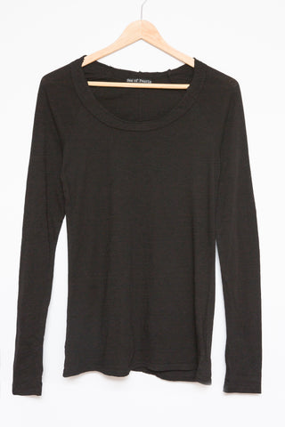 Luxe Basics Sheer Slub Long Sleeve - Black