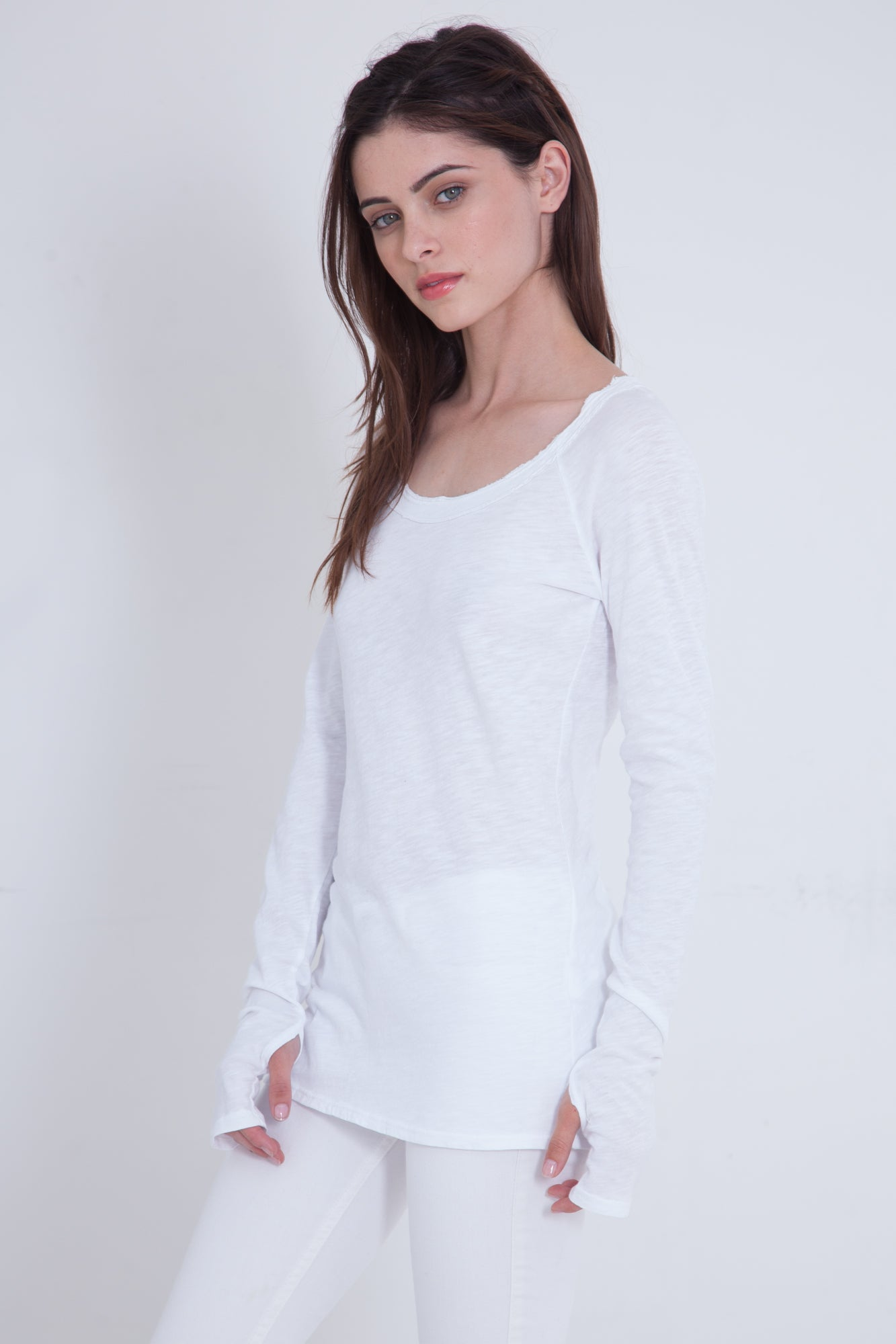 Luxe Basics Sheer Slub Long Sleeve - White