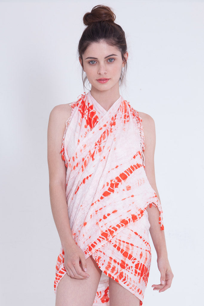 Alligator Crinkle Scarf in Coral
