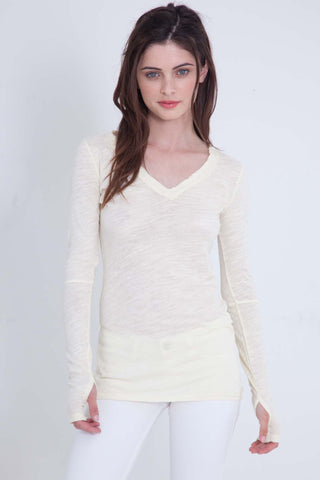 Luxe Basics Lace Long Sleeve Loose Tee in Stone
