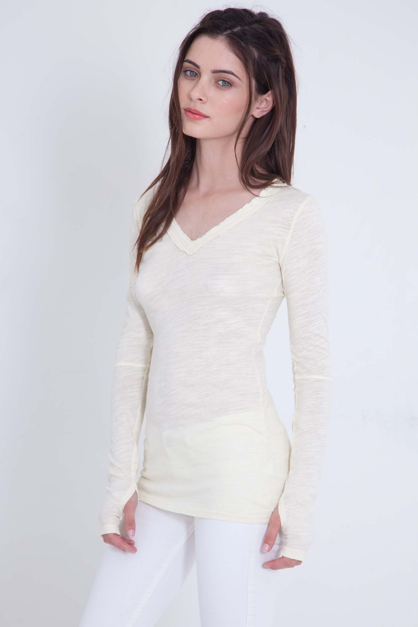 Luxe Basics Sheer Slub V-Neck Long Sleeve - Stone