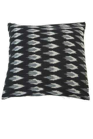 Hand Woven Black and Gray Ikat Artisan Pillow Cover
