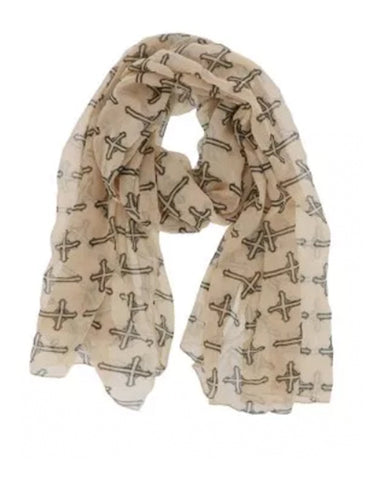 Cross Print Scarf in Camel