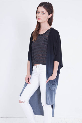 black ombre knit cardigan