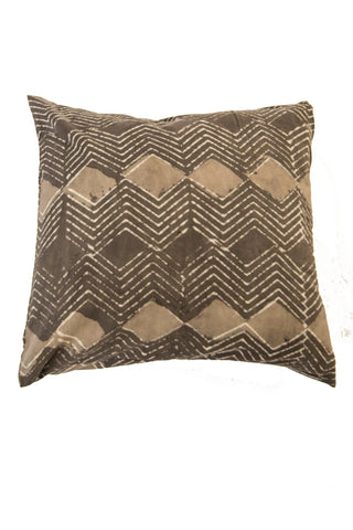 Hand Woven Cream and Black Ikat Artisan Pillow Cover
