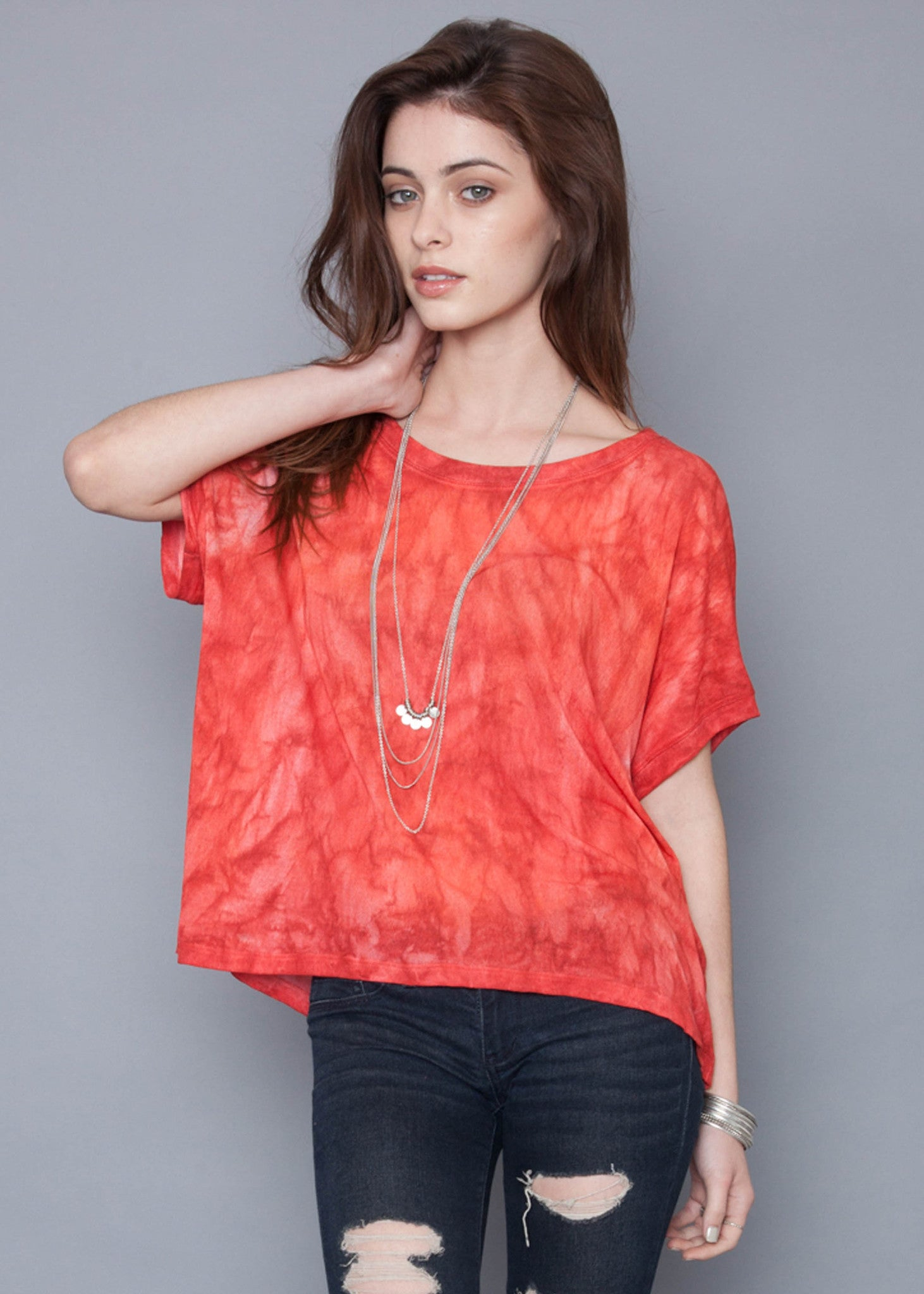 Coral Fire Bamboo Box Tee