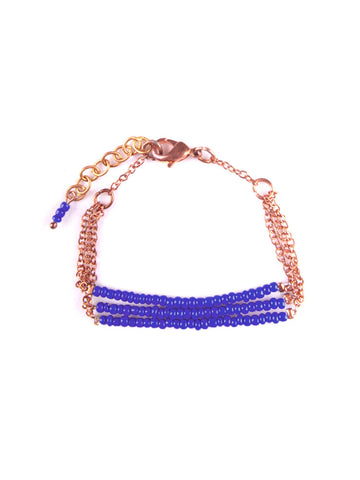 Copper Bead Bracelet in Cobalt