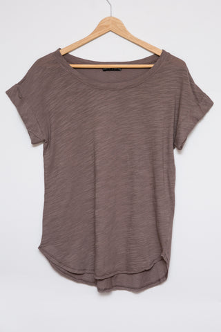Luxe Basics Phoenix Sheer Color-block Long Sleeve - Royal/Taupe