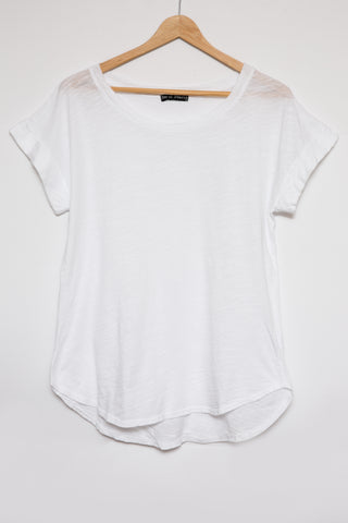 Luxe Basics Slub Roll Short Sleeve Tee - White