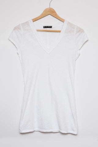 Luxe Basics Slub Short Sleeve Tank- White