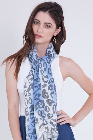 Cheetah Print Scarf in Cobalt