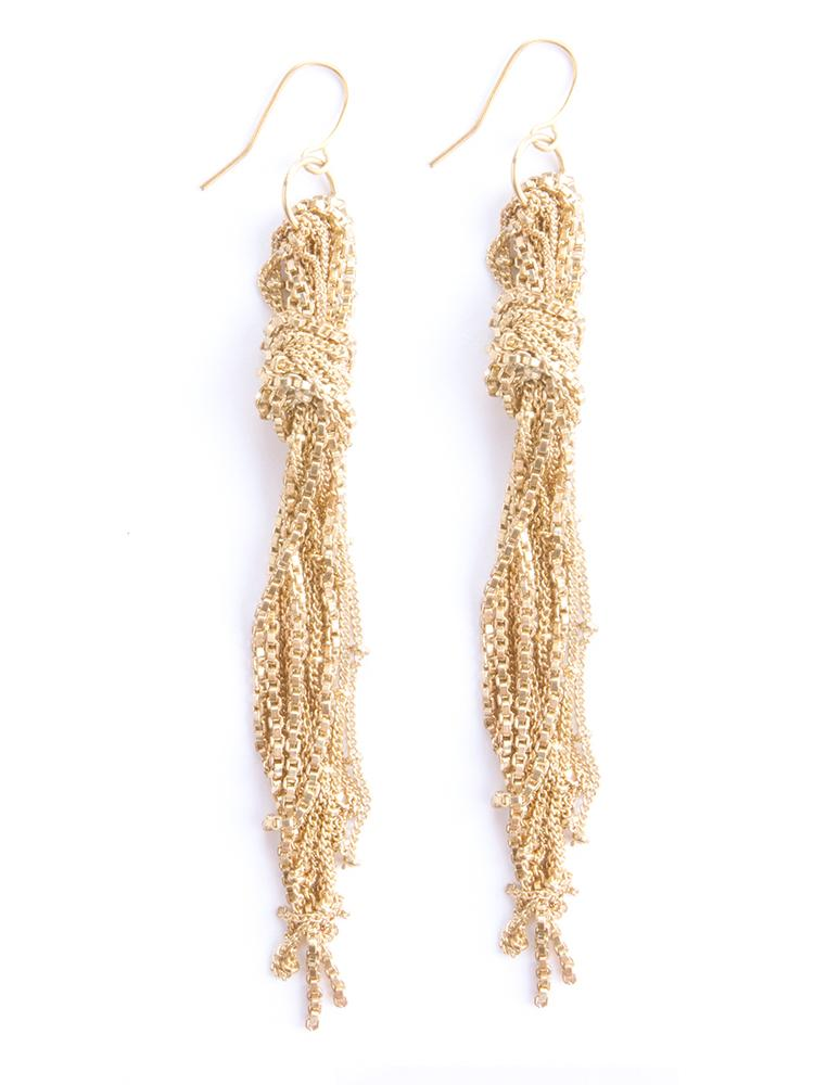 Knotted Gold Fringe Earrings