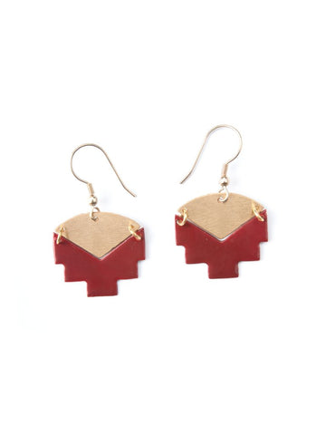 Iona Inlay Studs in Red