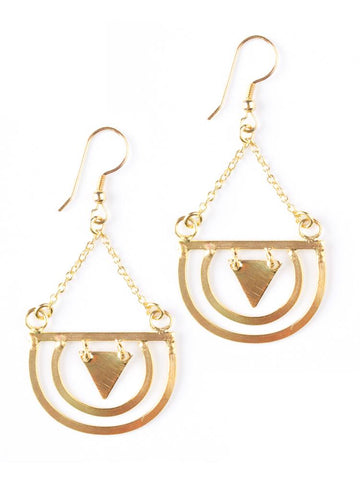 Round the Bend Earrings in Gold