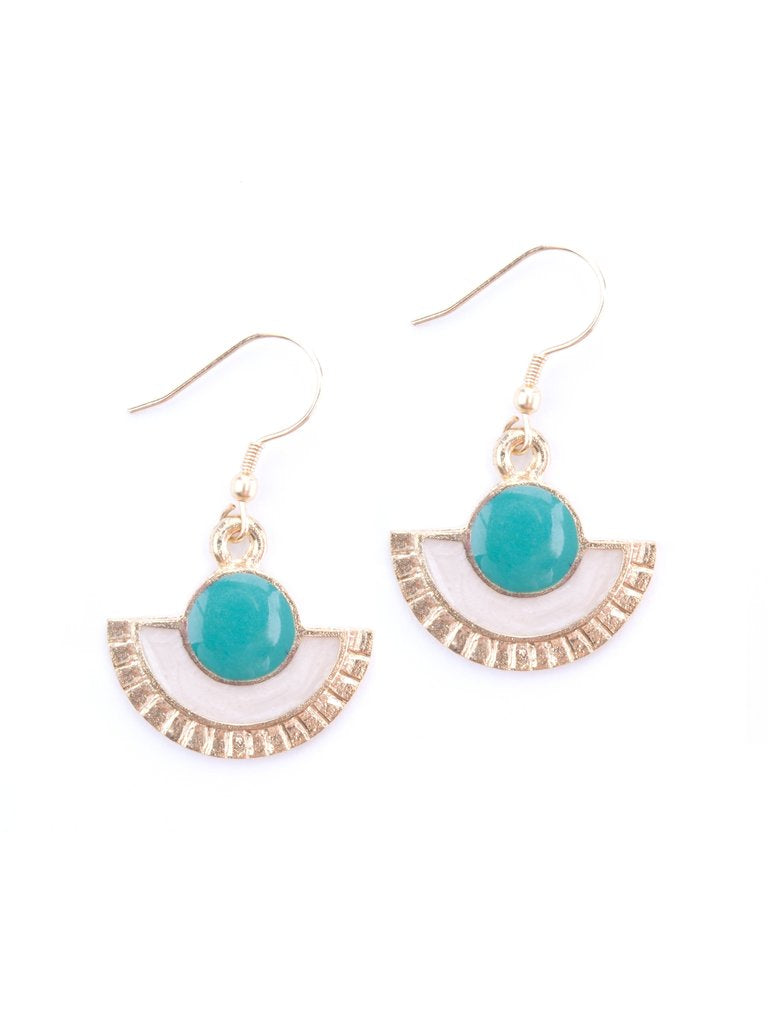 Deco Drop Earrings in Turquoise