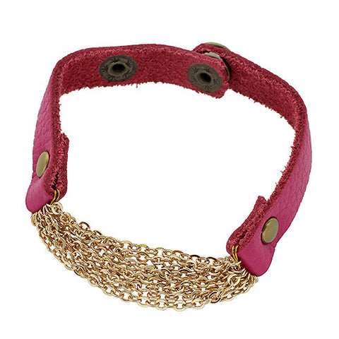 Leather Chain Bracelet in Fuchsia
