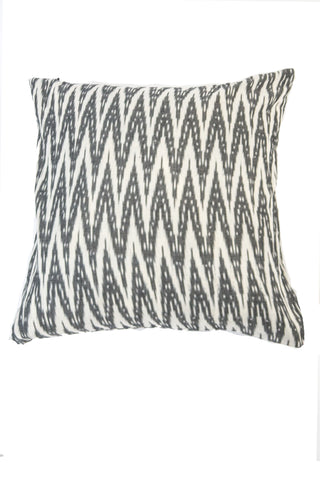 Hand Woven Double Graphite Ikat Artisan Pillow Cover