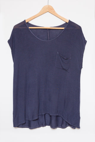 Pocket Tee Luxe Basics - Whiskey Blue