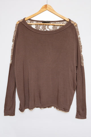 Luxe Basics Lace Long Sleeve Loose Tee in Birch