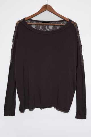 Luxe Basics Lace Long Sleeve Loose Tee in Black