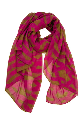 Spiral Links Scarf in Magenta/Copper