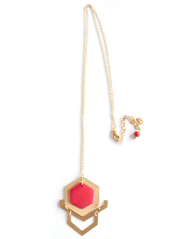 Mod Gem Necklace in Red