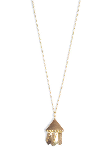 Triangle Fringe Necklace in Gold
