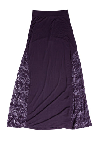 Luxe Basics Lace Maxi Skirt in Eggplant