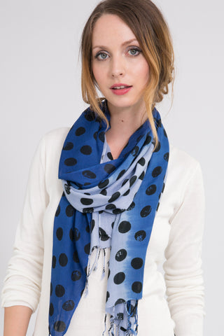 Polka Dot Scarf in Indigo
