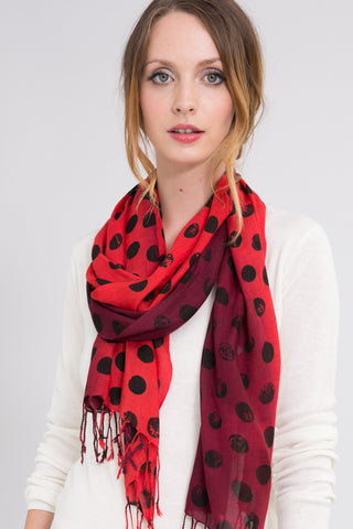 Scorched Gauze Scarf in Cranberry