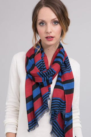 Silk Modal Blend Scarf in Cherrywood/Royal Stripe