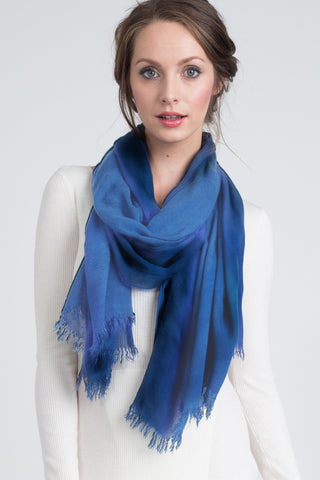 Silk Modal Blend Scarf in Slate Blue/Bisque Stripe