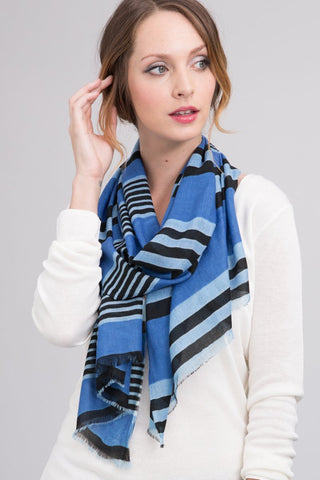 Silk Modal Blend Scarf in Royal Stripe