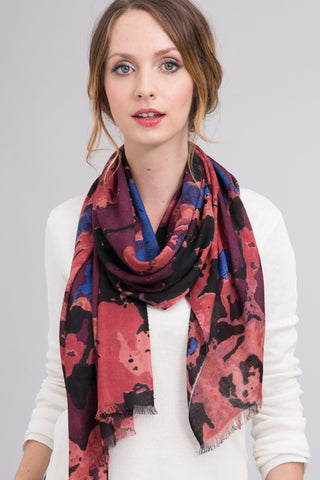 Hand Dyed Silk Blend Scarf in Raisin/Orchid Ombre