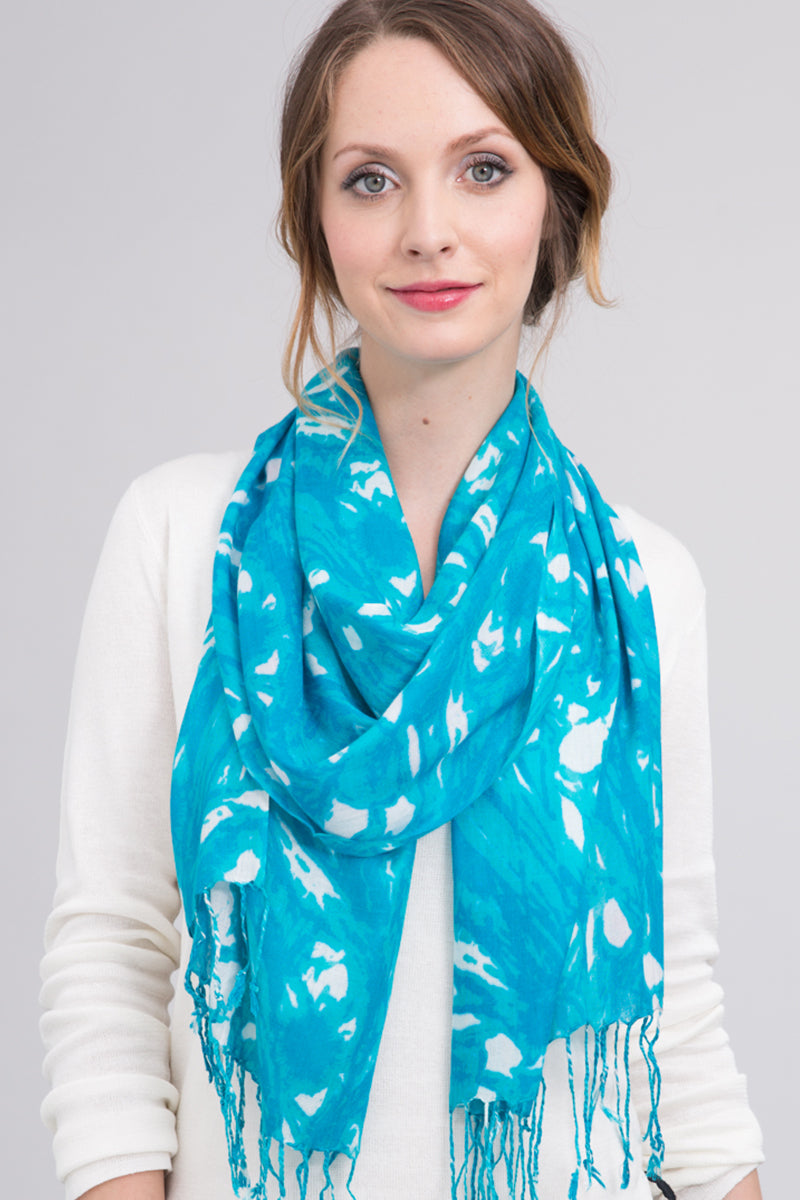 Floral Swirl Scarf in Turquoise