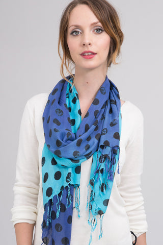 Polka Dot Scarf in Turquoise and Ink