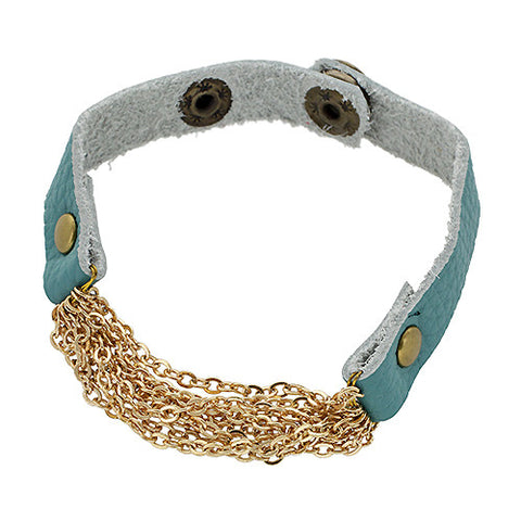 Leather Chain Bracelet in Turquoise