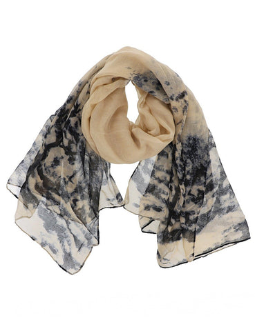 Watercolor Ink Print Scarf in Beige