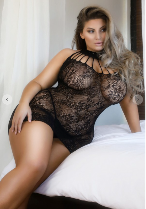 Strappy Choker Neck Lace Fishnet Bodystocking