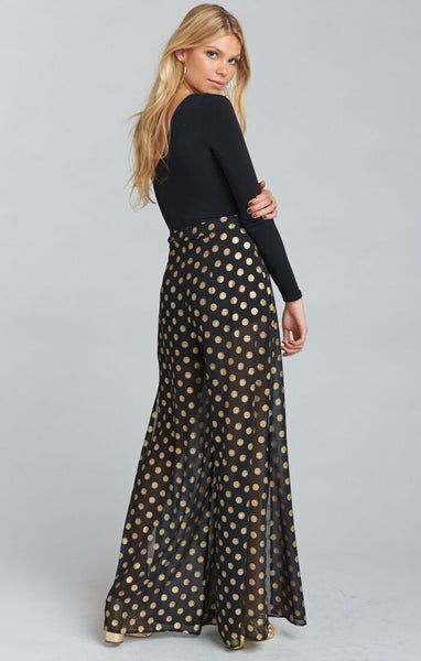 CAMPBELL HIGH SLIT PANTS - COSMIC DOT GOLD