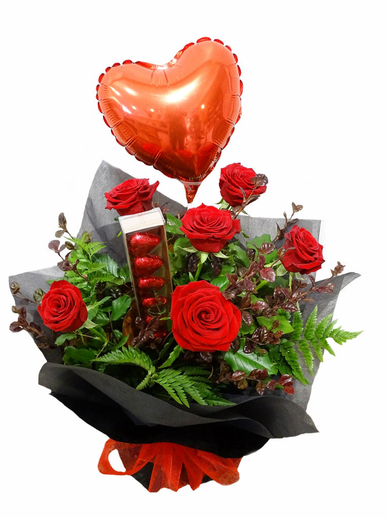 Half dozen Red Rose Vox with balloon and chocolates