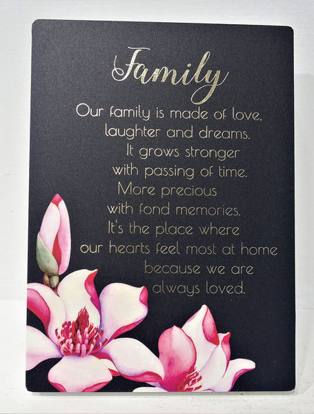 """Family"" Plaque with lovely wording"