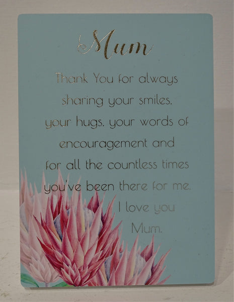 """Mum"" Plaque with lovely wording"