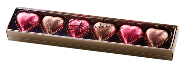 6 Pack Chocolate Hearts - Milk and Dark Chocolate