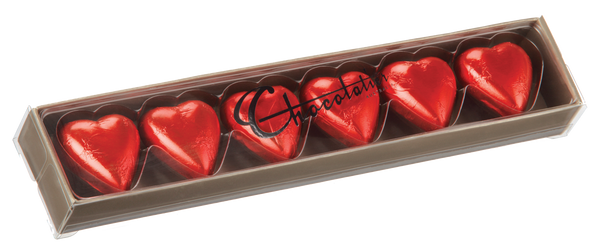 6 Pack Chocolate Hearts - Red