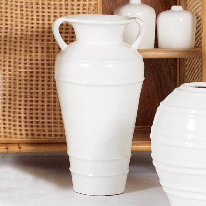 White Ribbed Handle Pot