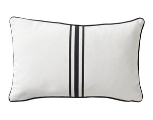 Stripped Cotton Black Cushion - Rectangle